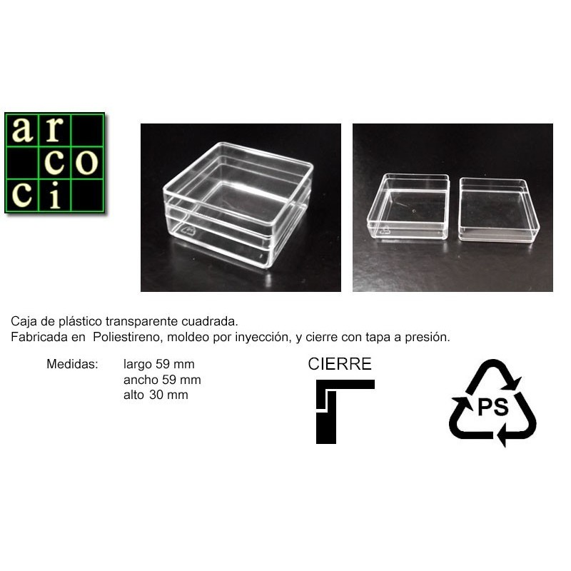 Caja de plástico 59 x 59 x 30