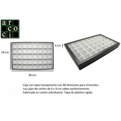 Caja con tapa transparente con 40 divisiones para minerales