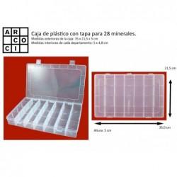 Caja de plástico con 28 departamentos