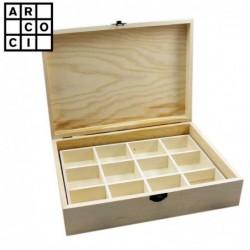 Caja de madera con 12 departamentos.