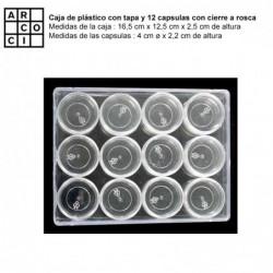 Caja de plástico con 12 capsulas. (Pequeña)