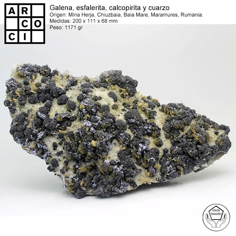GALENA, ESFALERITA, CALCOPIRITA Y CUARZO.