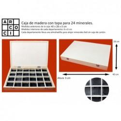 Caja de madera para 24 minerales de 6x6