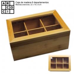 Caja de madera con 6 departamentos con tapa.